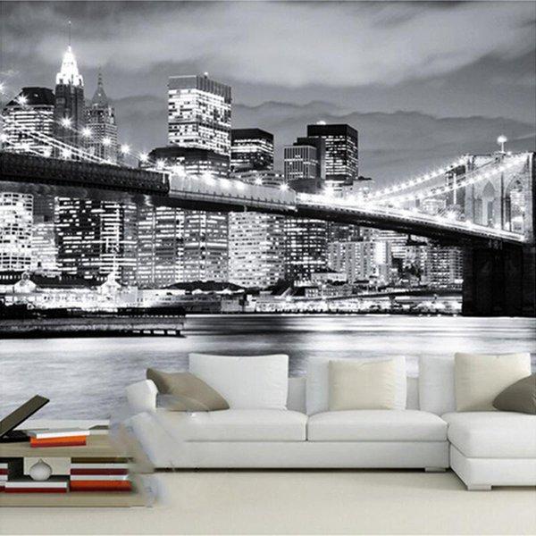 Großhandels Custom Mural Wallpaper Schwarz Weiß Stadt Nachtansicht  Manhattan Bridge Wohnzimmer Schlafzimmer Sofa