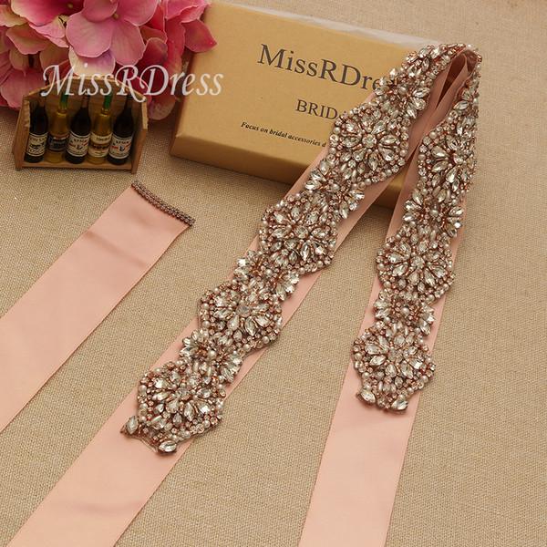 MissRDress Luxury Bridal Belt Sashes Rose Gold Crystal Pearls Rhinestones Wedding Sashes Belt For Wedding Accessories YS936