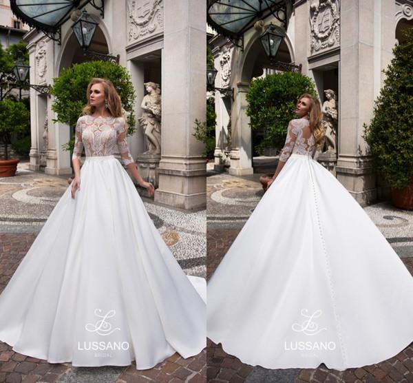 4553def11b 2018 Newest Long Sleeve Wedding Dresses Button up Back Court Train Lace  Satin Bridal Wedding Gowns Bride Dresses Vestido De Novia
