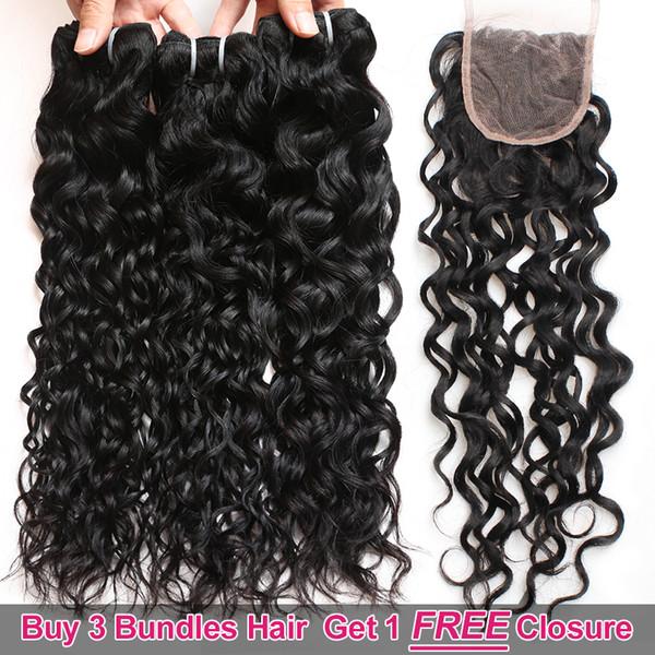 Ishow Hair Big Sales Promotion Buy 3 Bundles Get A Free Closure Brazilian Water Wave Unprocessed Peruvian Human Hair Free Part