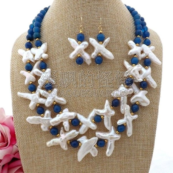 S093009 18'' 2 Strands White Cross Pearl Blue Onyx Necklace Earrings Set