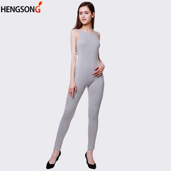 3e0d6b7da54f Grey Jumpsuits Romper Hot Sale Women Casual Solid Women Sleeveless Hollow  Out Backless Regular Ladies Jumpsuit