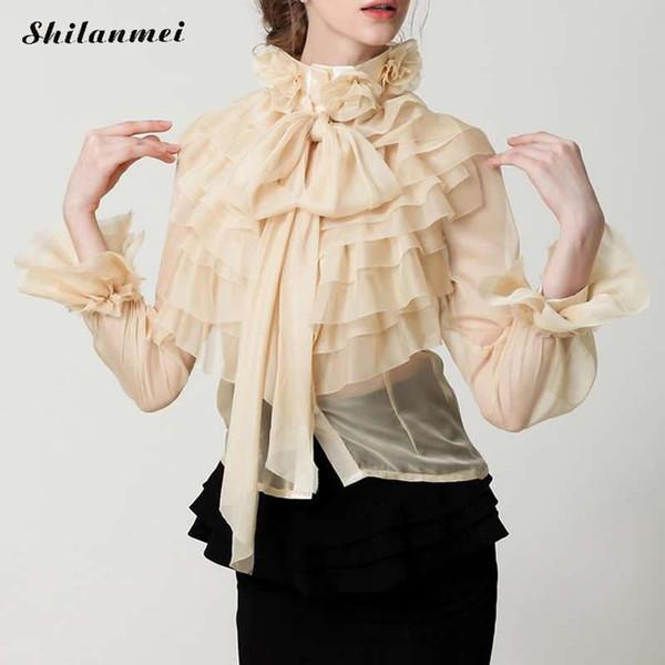 neue Dame Sommer schöne süße Vintage Mädchen Damen Königshof Prinzessin Bogen Design Chiffon Rüschen Bluse Shirt Plus Größe