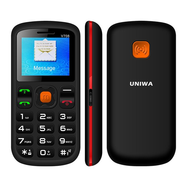 Uniwa V708 Charging Cradle Senior Kids Feature Keypad Mobile Phone 2G GSM Push Big SOS Large Button Key Cellphone Bluetooth 2.0