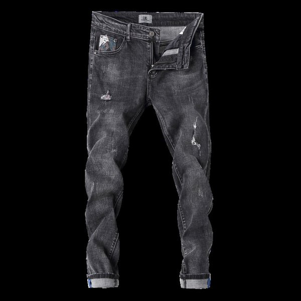 2018 spring new hole washed jeans men's slim feet Korean students large size tide male movement fashion Harlan pants Sweatpants
