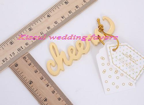 (20 Pieces/lot) Newest Event and Party Favors of Cheers Antique Gold Bottle Opener Wedding gifts for Bridal showers