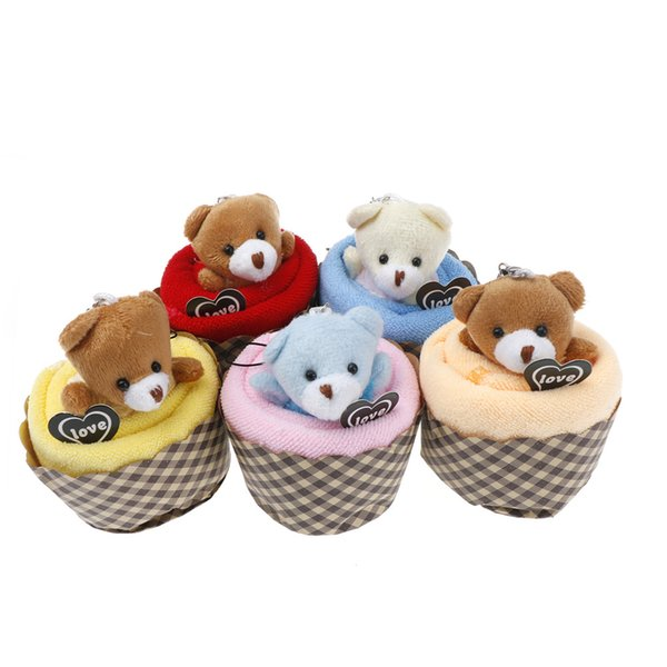 New Arrival 10pcs Creative Lovely Mini Bear Cupcake Towel Cotton Hand Towel Face Party Gifts