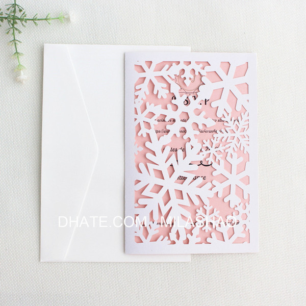 Snowflake Christmas greeting cards white laser cut festival party invitation card party supplies custom printing free ship