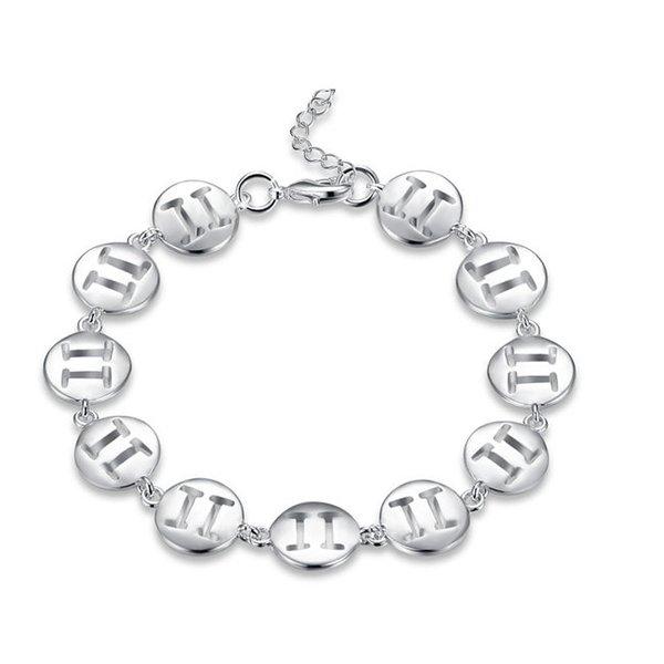 Top sale!Fashion constellation hand chaisterling silver plated bracelet SPB578;high quatity fashion men and women 925 silver Charm Bracelets