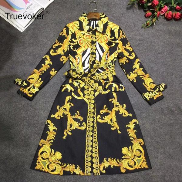 Truevoker Herbst Designer Trenchcoat Damen Hochwertiger, eleganter, vollärmliger Luxusgoldbarock bedruckter, gebundener Taillenmantel