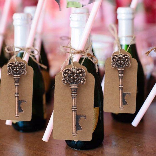 100pcs Wedding Gifts for Guests Souvenirs Skeleton Bottle Opener+Tags Party Favors Festive Party Supplies Wedding Decoration