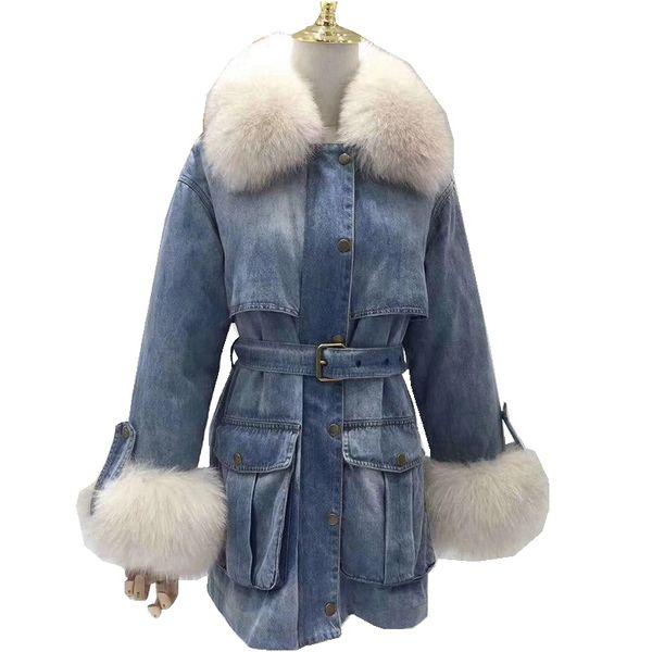 (TopFurMall)European Winter Women Parkas Jacket Coats  Fur Collar and Cuff Lady Warm Outerwear LF5176