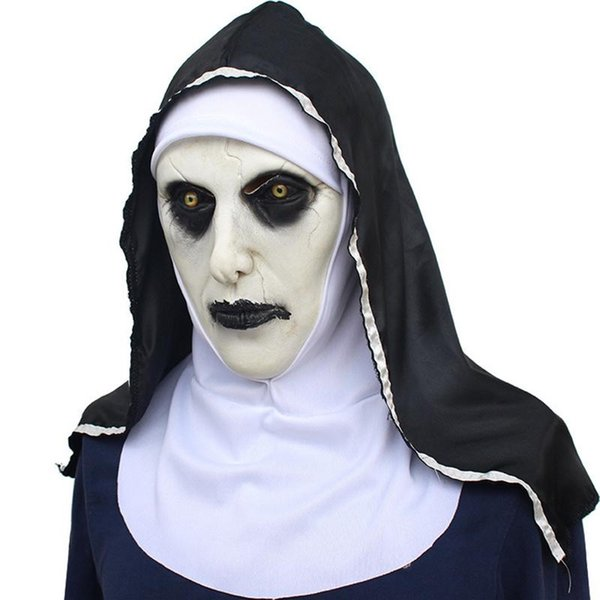 Nonne Maske Scared Female Face Perücke Feiern Halloween Theme Party Cosplay Bar Aufführungen Night Performances Karneval Personal