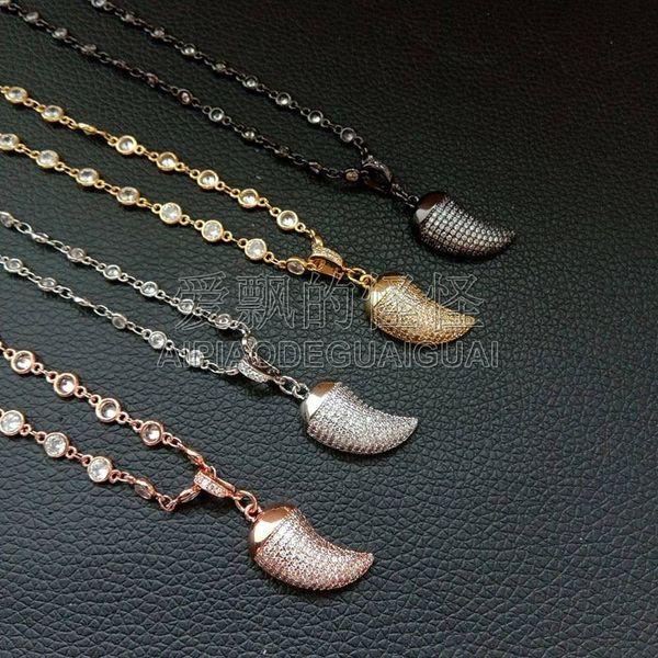 "N053119 17"" Micro Pave Cz Pepper Shape Pendant Chain Necklace"