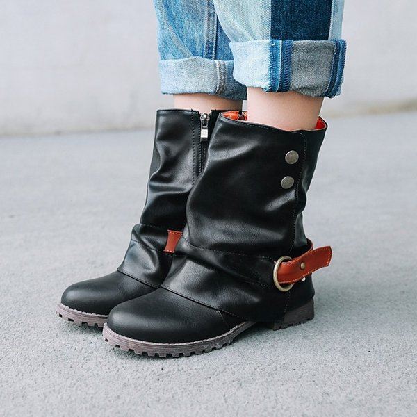 Hot Sale Fur Ankle Western Boots Cowboy Round Toe Women Winter Boots Zipper Leather Mid-Calf Boots Square Low Heels ADF-8527