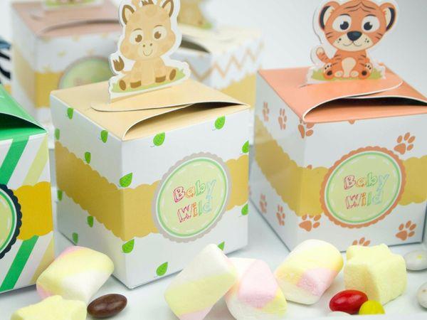 Wholesale-Baby Shower Favors Safari Animal Wild Jungle Favor Box Candy Box 24PCS/pack Souvenir Boy/Girl Kids Event & Party Supplies