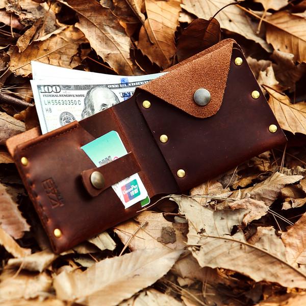 Gathersun marca 2017 nuovo arrivo originale design a mano in vera pelle casual breve portafoglio in pelle di mucca retro borsa per gli uomini