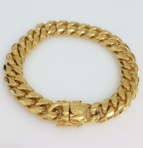 Men 18K Yellow Gold Stainless Steel Box Clasp 12mm Miami Cuban Link Bracelet