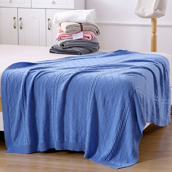 Beroyal Brand Sofa Blanket --1PC 100% Cotton Throw Blanket Adult Knitted Spring/Autumn Handmade Blankets for Beds