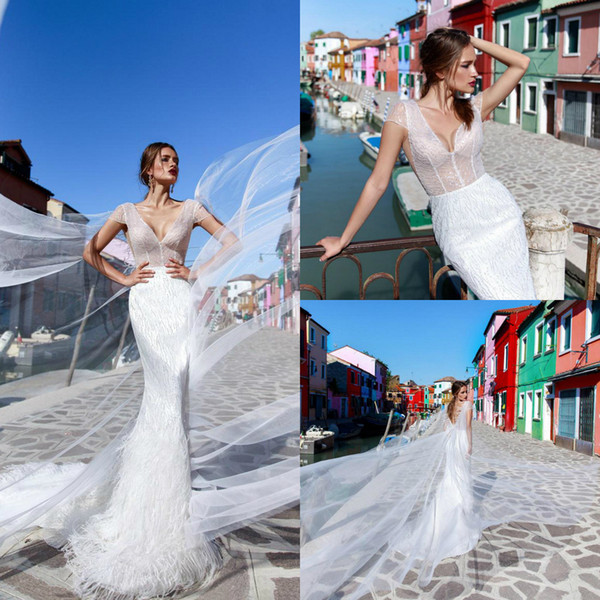 Ricca Sposa Mermaid Wedding Dresses Luxury V Neck Lace Applique Sequins Beads Feather Cap Sleeve Backless Sweep Trian Plus Size Bridal Gowns