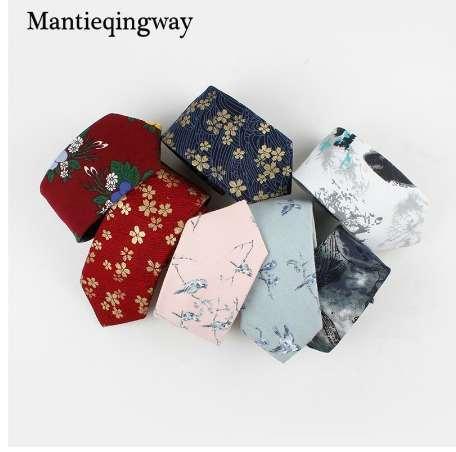 Mantieqingway Için 7 cm Hayvanlar Kuşlar Desen Boyun Bağları Mens için Pamuk Çiçek Kravat Düğün Sıska Gravata Masculina Cravat