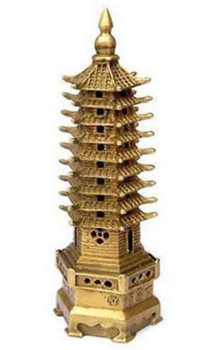 Chino pagoda religión Torre estatua de bronce decoración 9 niveles