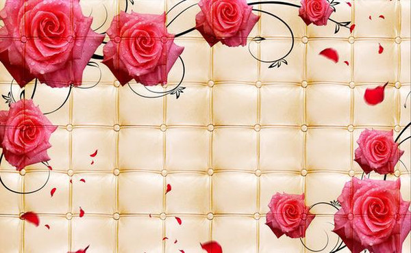 Photo Wallpaper High Quality 3d Stereoscopic Living Room 3d Leather Rose Pattern Tv Background Wall Picture Extension Personality Wall Mura Mobile