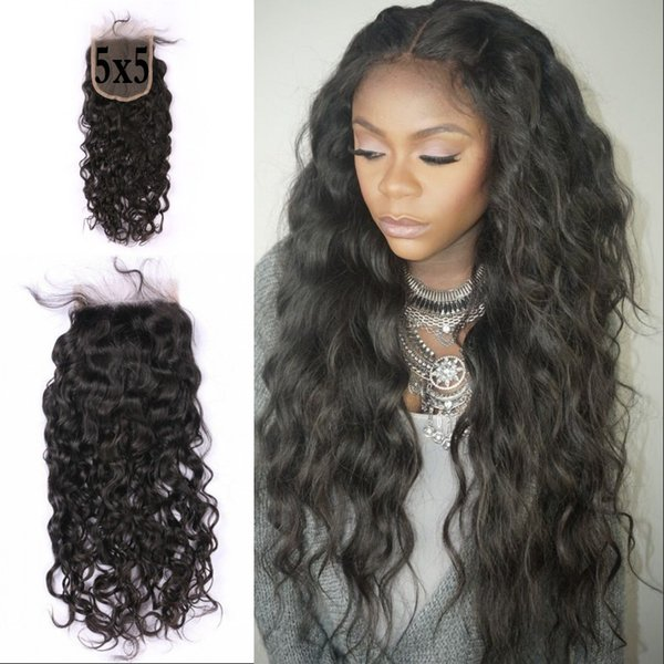 Brazilian Virgin Human Hair 5X5 Water Wave Lace Closure Free Middle Part Natural Black Wholesale Cheap For Women G-EASY