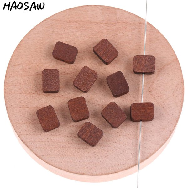top popular 12*10MM 400Pcs Lot Natural Wood Square Shape Beads Earrings Accessories For DIY Handmade Beads Accessories Making Jewelry Design 2021