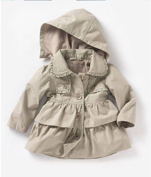 Çocuk Giyim 2018 Yeni Bebek Yürüyor Kızlar için Yaka Kemer Rüzgarlık Ceket Çocuk Kabanlar Ceket Kış veya Sonbahar