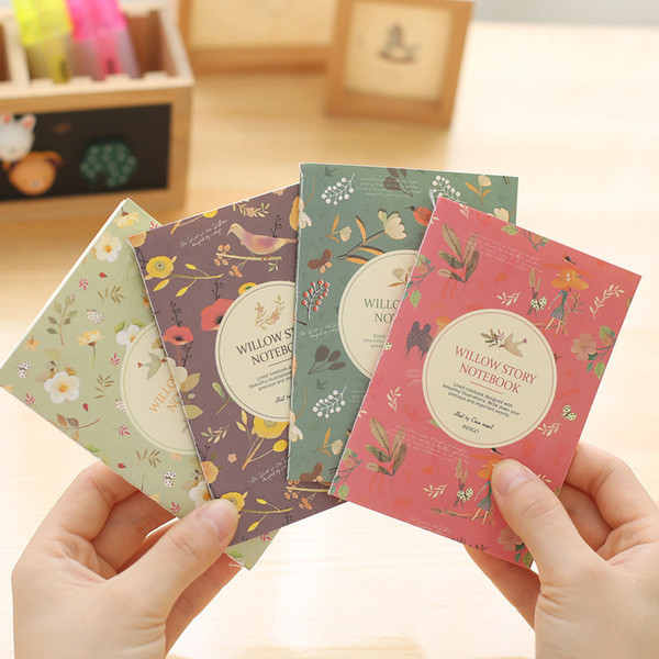 4pcs Cute Flowers Birds Animal Mini Notebooks Kawaii Stationery Papelaria Notepad Portable Note Book Office School Supplies