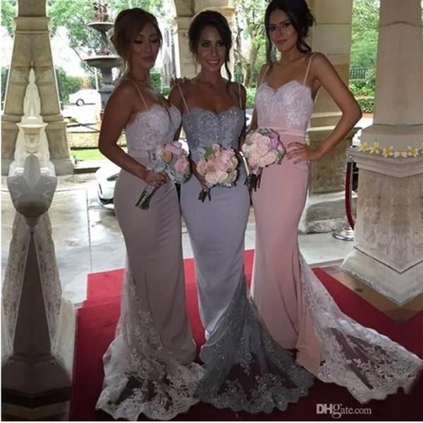 Vestidos de dama de honra baratos 2019 tiras de espaguete querida lantejoulas corpete de renda personalizado bainha longa prata madrinha de honra vestido vestidos de noite