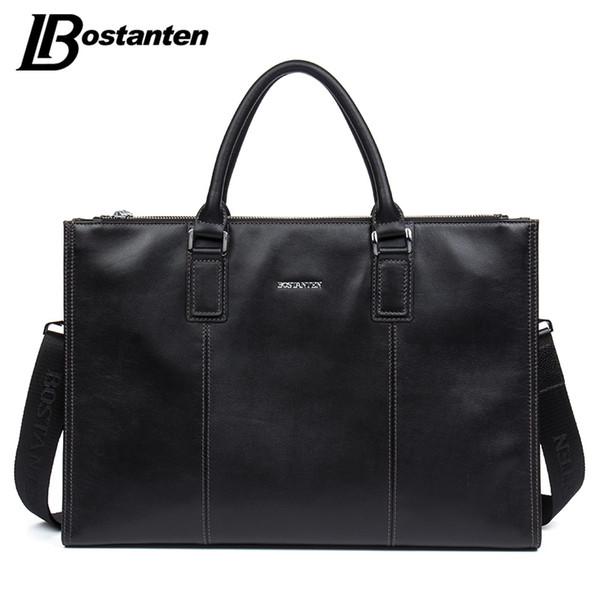 BOSTANTEN Men Briefcase 2017 Cow Genuine Leather High Quality Handbags Large Men Shoulder Messenger Bag Attache Case Travel Bag