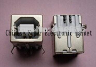 100pcs USB B Female USB Connector Square Head USB party mouth_USB a 90 degree type D DIP straight runs