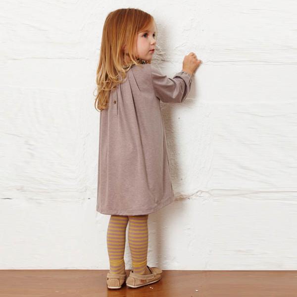 Yeni Yürüyor Bebek Sonbahar Uzun Kollu Giysileri Nedensel Kız Elbise Çiçek Yaka Çocuklar Pamuk Elbiseler Çocuk Giyim