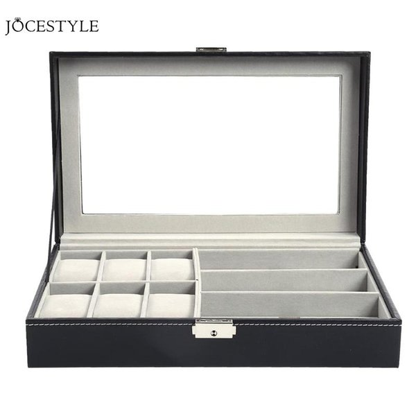 Multi-functional Single Layer 6 Table + 3 Grid Slots Leather Watch Box Jewelry Display Sunglass Holder Organizer Storage Case