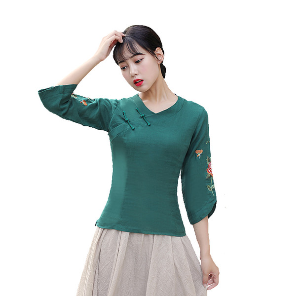 Shanghai Story Flower Embroidery V Neck Collar traditional Chinese tops cheongsam Shirt 3/4 Sleeve chinese Blouses for women