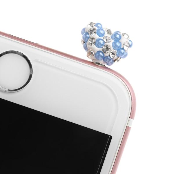 Taklidi Aşk Kalp Akıllı Telefon Için 3.5mm Jack Anti Toz Tak Kulaklık Tıpa