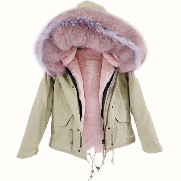 NEW 2018 real raccoon fur collar hooded winter jacket women parka fur coat fashion Thick Warm Streetwear C18110301