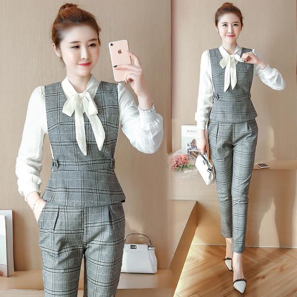 Set female 2018 summer new casual elegant long-sleeved clothes + fashion sleeveless jacket + Slim wild trousers three-piece suit
