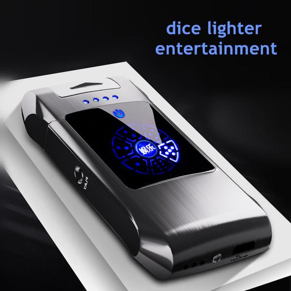 Fingerprint doble arco plasma encendedor pulso USB a prueba de viento encendedor de metal juego electrónico juego Smart pantalla poder dados encendedores novio gif