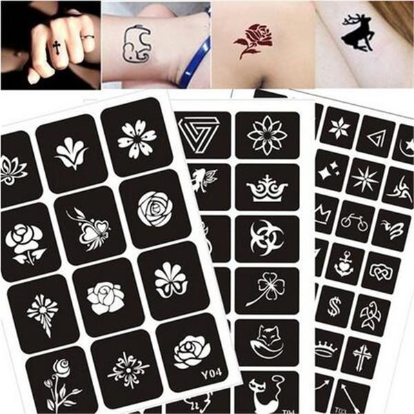 200 Patterns Airbrush Glitter Tattoo Drawing Henna Template Cat Flower Letter Sexy Women Body Hnad Art