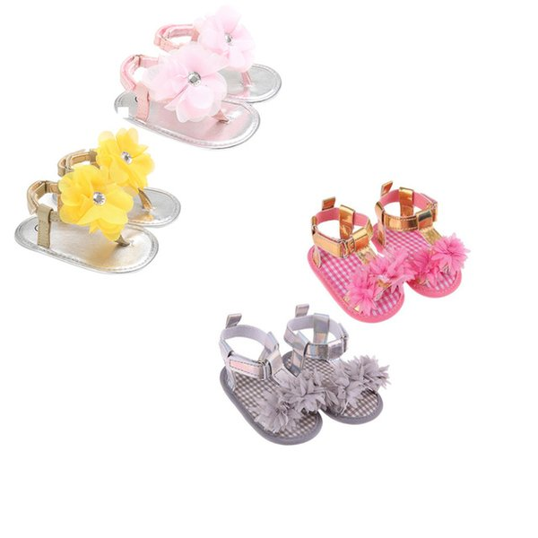 Baby Summer Flower Shoes Newborn Girls Princess Sandals Shoes Moccasins Pink&Yellow Kids Slippers Prewalkers For 0-24M Girls