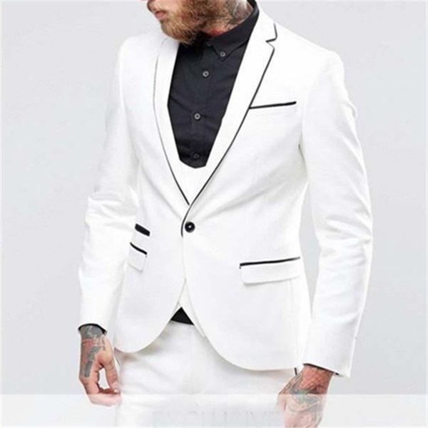 Abito da uomo bianco con Blazer Slim Fit Smoking formale da sposa Prom Ultimo cappotto Pant Design Blazer Abiti su misura da uomo