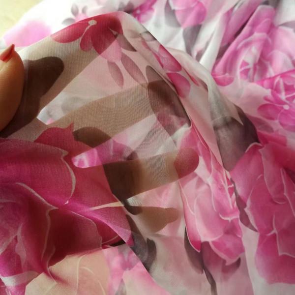 rosa farbe rose gedruckt chiffon stoff weich dünn für sommer kleidung kleid stoff afrikanische tüll stoff für hochzeitskleid