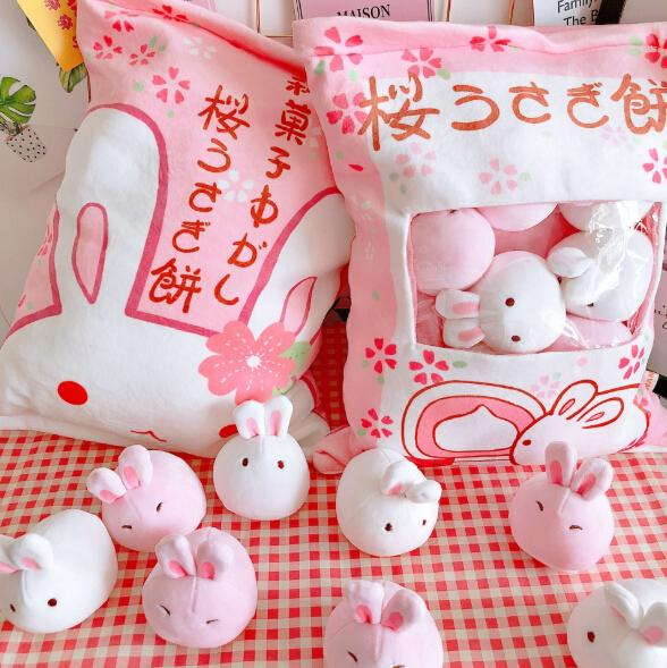 Plush Toys Throw Pillow Kawaii Pink Sakura Rabbit Plush Creative Gift Decorative Pillow Cushion Multi Design