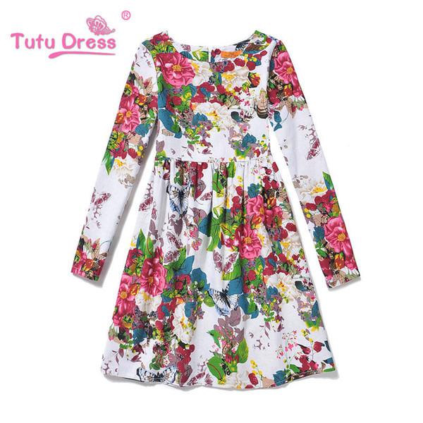 2017 New Summer Long Sleeve Girls Print Flower Dress Children Clothing Girls Dresses For Girls 6 7 8 9 10 11 12 13 Years Old
