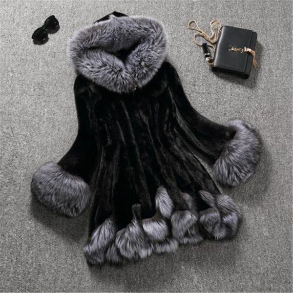Long Faux Fur Jacket Winter Woman New Warm White Black  Fur Hooded Coat Female Parka Fashion Overcoat Women Fur Coat 5XL6XL