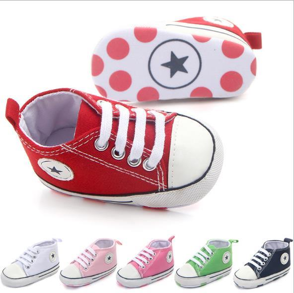 New Classic Infant toddlers Baby Canvas First walkers Baby moccasins Soft bottom Canvas Anti-slip shoes