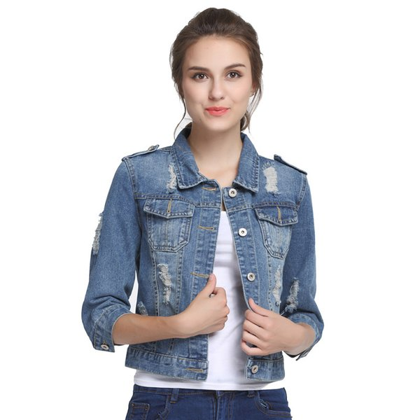 Plus Size 5XL 6XL Oversize Denim Jacket Women Spring Slim Cotton Light Washed Long Sleeve Jeans Jacket Coats